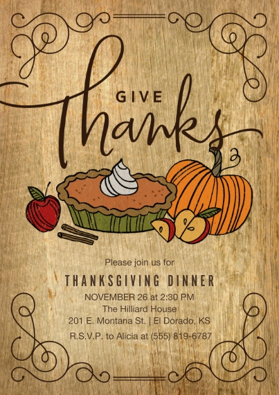 Thanksgiving Photo Cards Mail-for-Me Premium 5x7 Flat Card, Card & Stationery -Rustic Thanksgiving Dinner Invitation by Hallmark