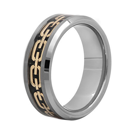 Mens 8mm Comfort Fit Chain Inlay Tungsten Wedding Band, 11 , Multiple Colors