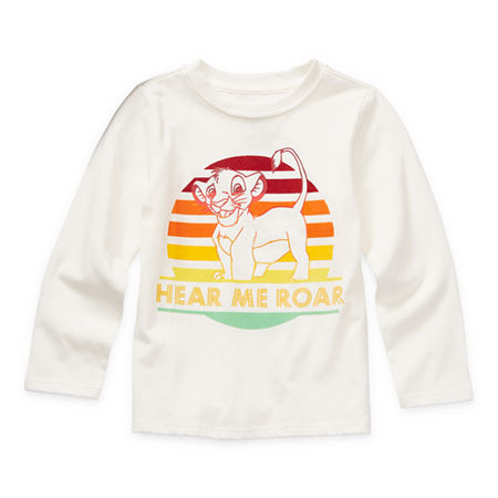 Okie Dokie Toddler Boys Crew Neck The Lion King Long Sleeve Graphic T-Shirt, 5t , White