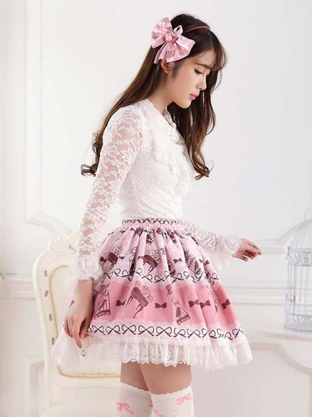Milanoo Faldas de encaje de poliester color rosa angulo Lolita