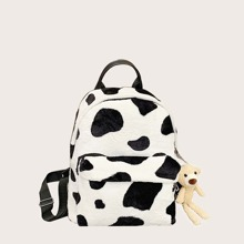 Girls Cow Pattern Fluffy Backpack