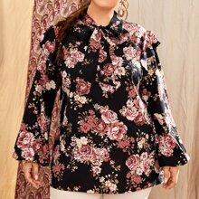 Bluse mit Blumen Muster, Rueschenbesatz und Halsband
