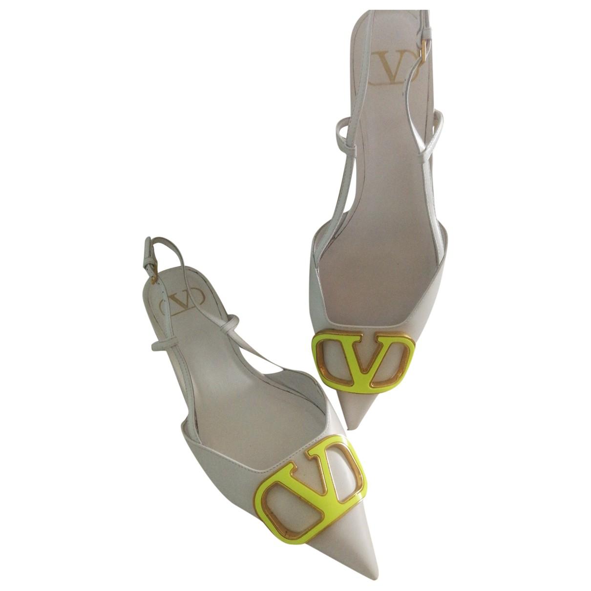 Valentino Garavani - Escarpins VLOGO pour femme en cuir - blanc