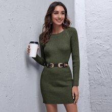 Raglan Sleeve Rib-knit Sweater Dress Without Belt