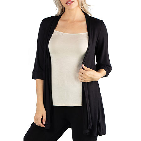 24/7 Comfort Apparel Open Front 3/4 Length Sleeve Cardigan, 1x , Black