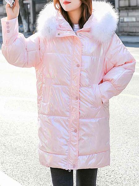 Milanoo Abrigos acolchados para mujer Botones rosados Cremallera con capucha Mangas largas Abrigo de invierno informal Prendas de abrigo
