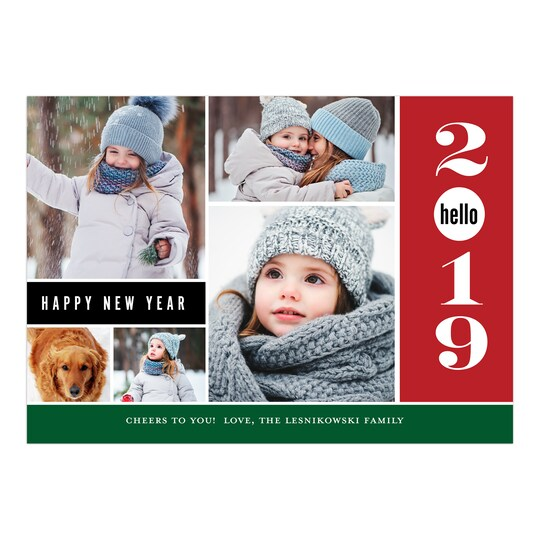 20 Pack of Gartner Studios® Personalized Happy Hello Flat New Year Photo Card in Red | 5