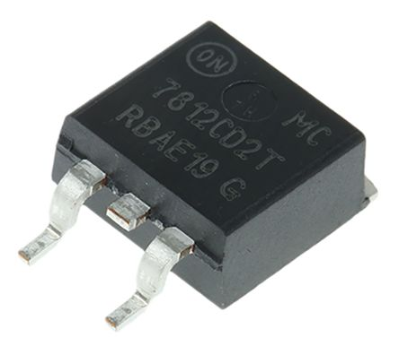 ON Semiconductor , 12 V Linear Voltage Regulator, 1A, 1-Channel, ±4% 3-Pin, D2PAK MC7812CD2TG (10)