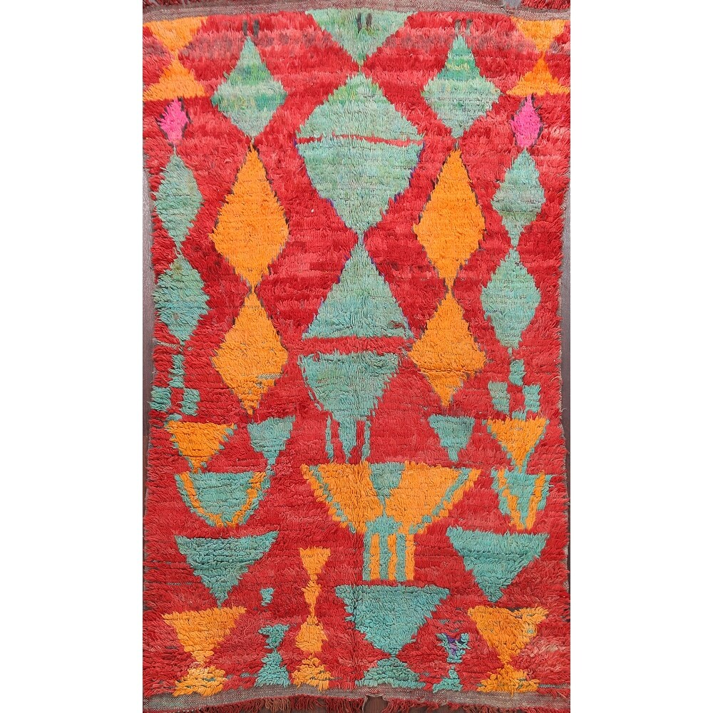 Antique Vegetable Dye Oriental Authentic Moroccan Area Rug Handmade - 46 x 611 (46 x 611 - Red)