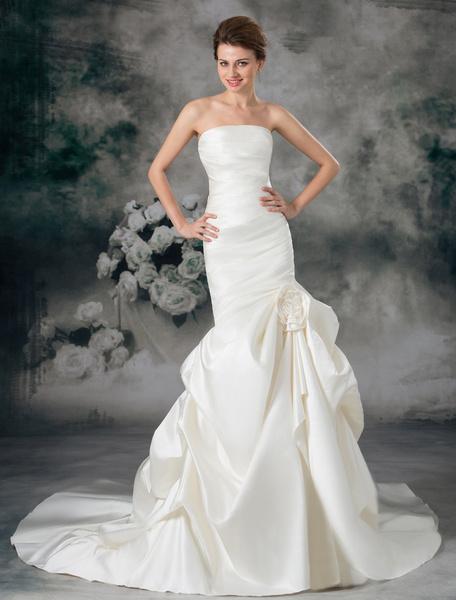 Milanoo Ivory Mermaid Strapless Flower Satin Wedding Dress For Bride