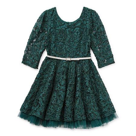 Knit Works Little & Big Girls Belted 3/4 Sleeve A-Line Dress, 22.5 Plus , Green