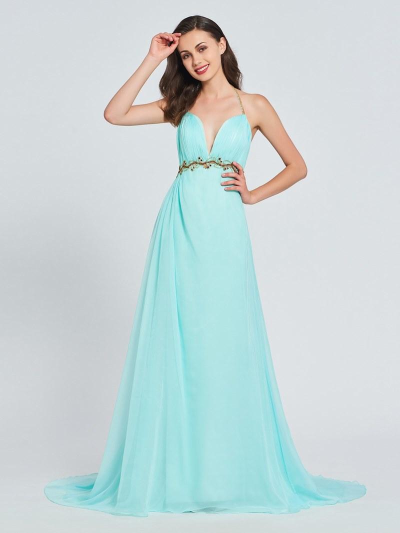 Ericdress A Line Beaded Halter Backless Prom Dress