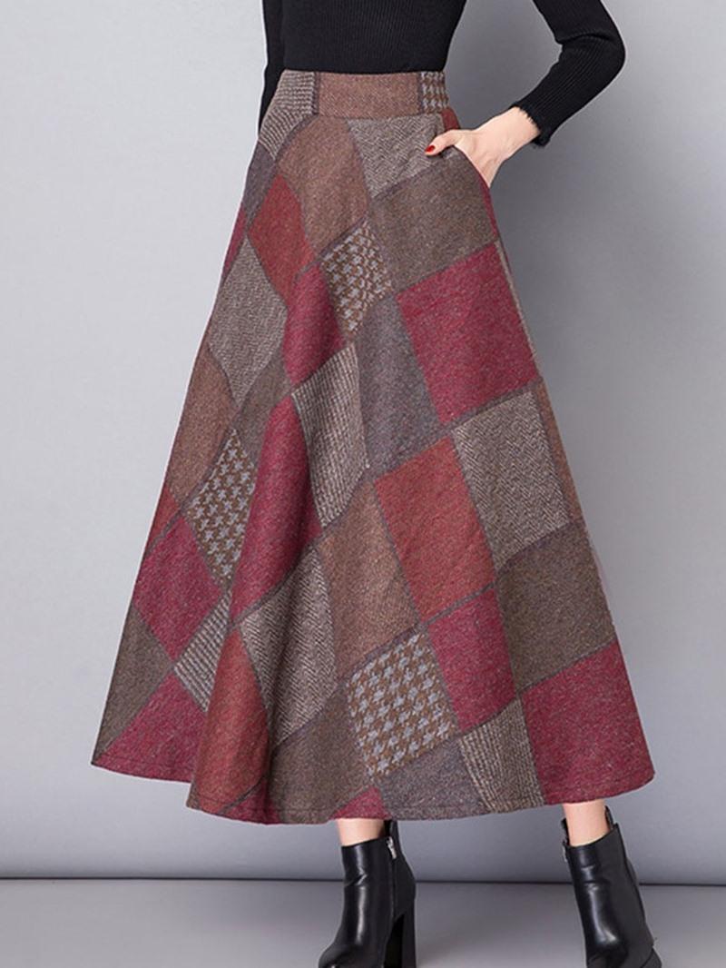 Ericdress Mid-Calf Color Block A-Line Casual Skirt