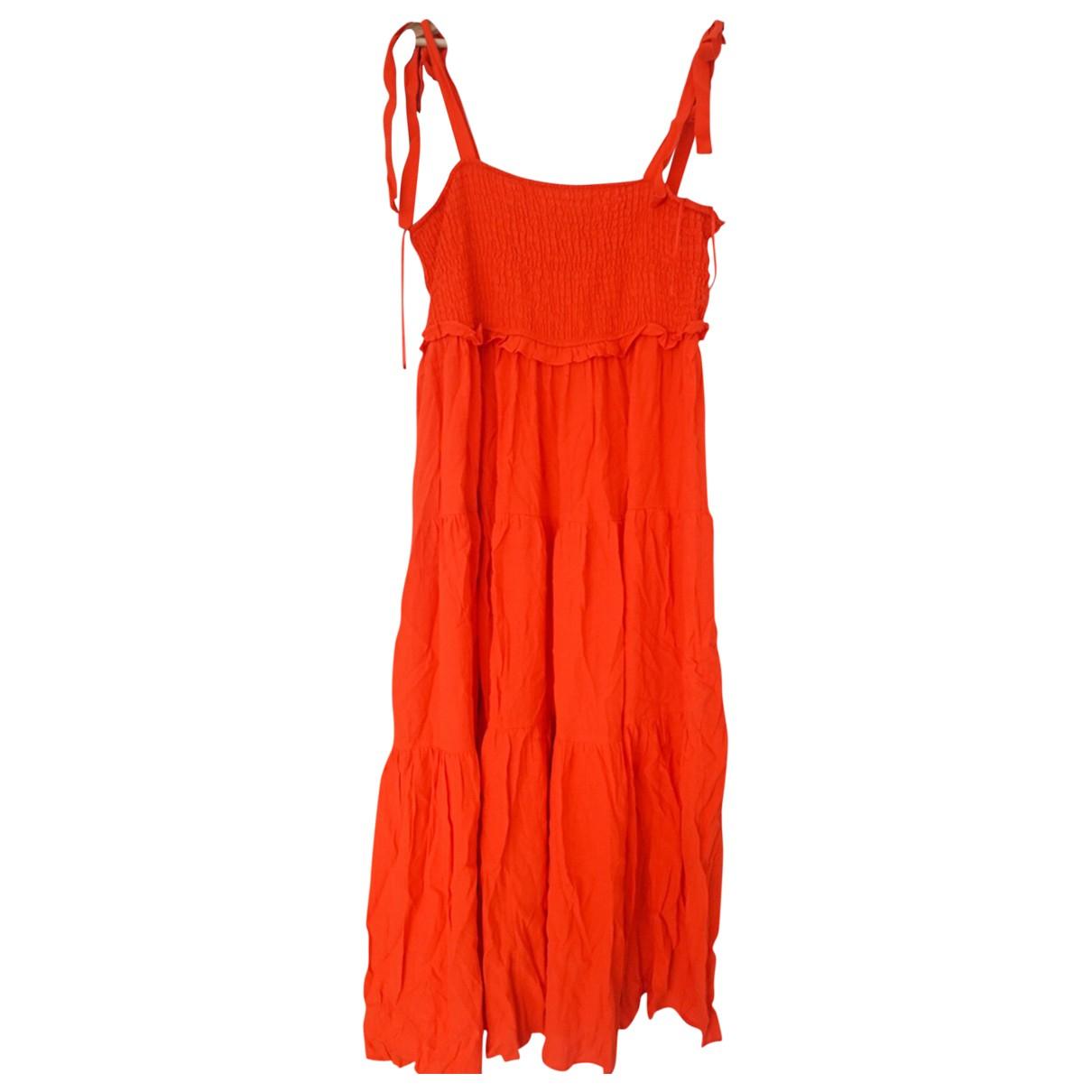 Zara \N Kleid in  Orange Viskose