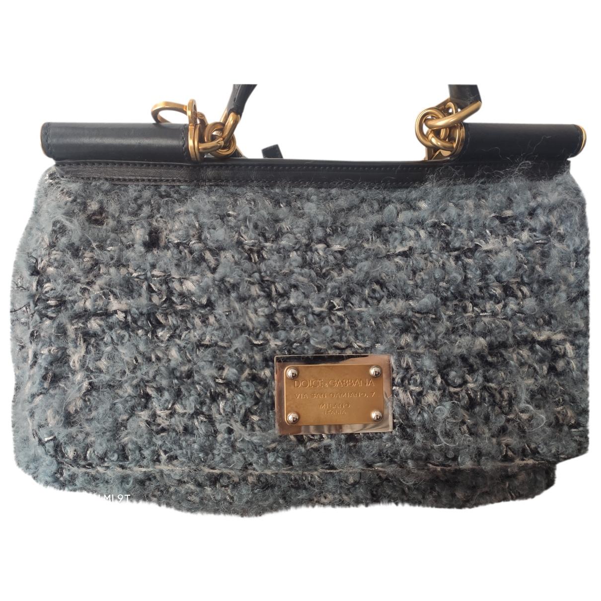 Dolce & Gabbana - Sac a main Sicily pour femme en laine - gris