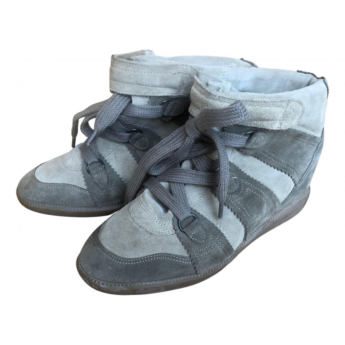 Isabel Marant Bobby Sneakers in  Beige Veloursleder