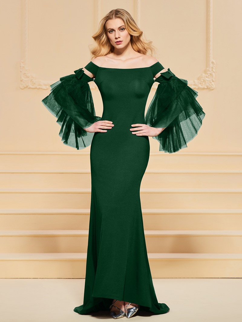 Ericdress Off The Shoulder Bell Sleeve Mermaid Evening Dress