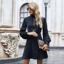 Lace Inset Bishop Sleeve A-line Dress