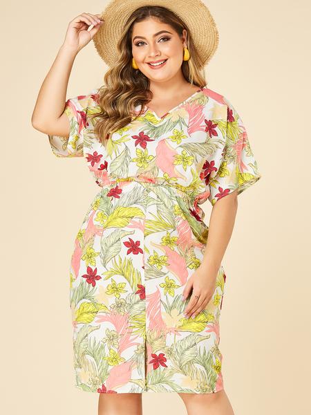 YOINS PLus Size Random Floral Split Design V-neck Dress