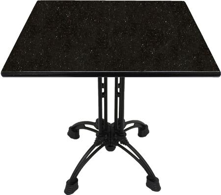 G206 30X30-CA18-27H 30x30 Black Galaxy Granite Tabletop with 20 Ornate Matte Black Bar Height Table
