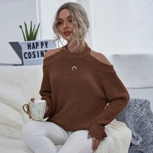 Cut Outs Einfarbig Laessig Pullover