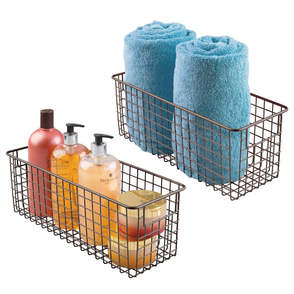 Deep Metal Wire Bathroom Vanity Storage Basket in Bronze, 16