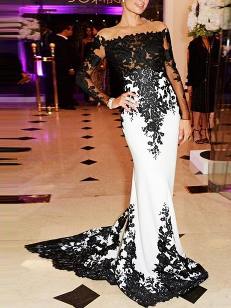 Ericdress Off-The-Shoulder Long Sleeves Mermaid Evening Dress