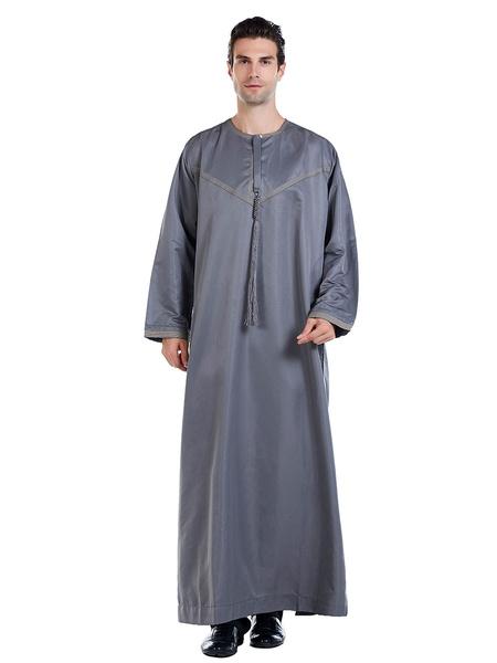 Milanoo Arabian Abaya Robe Jewel Collar Long Sleeve Men Clothing