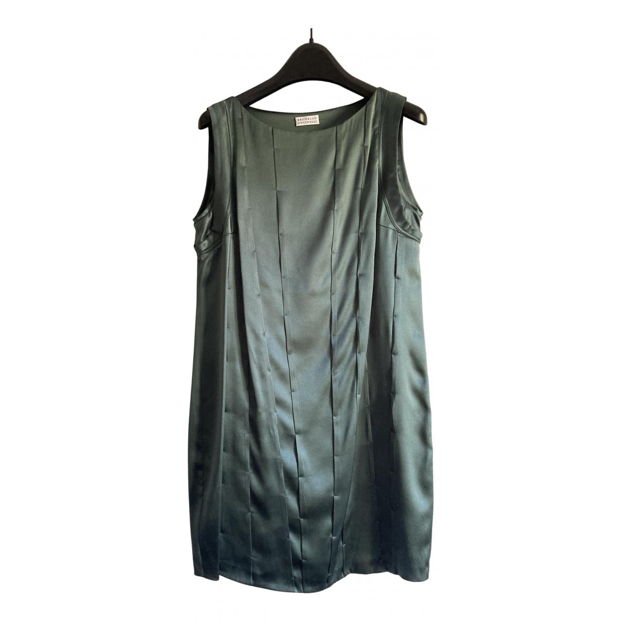 Brunello Cucinelli - Robe   pour femme en soie - vert