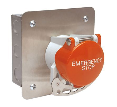 Craig & Derricott Stay Put Control Station Switch - NO/NC, Stainless Steel, 9 Cutouts, Red, Emergency Stop, IP65