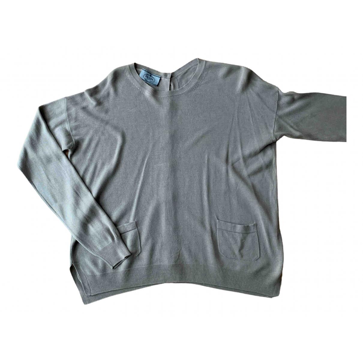 Prada - Pull   pour femme en coton - gris