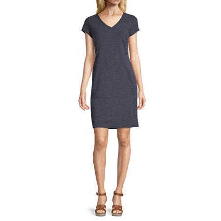 Liz Claiborne Short Sleeve Striped Shift Dress, Xx-large , Blue