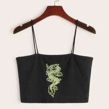Dragon Graphic Cropped Cami Top