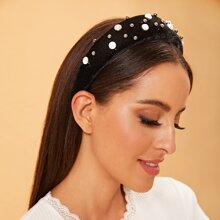 Diadema acolchada con diseño de perla artificial