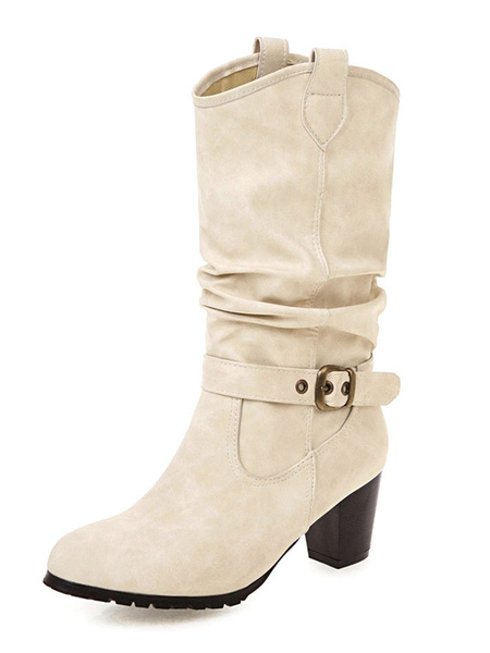 Milanoo Womens Mid Calf Boots Round Toe Buckle 2.6 Boots