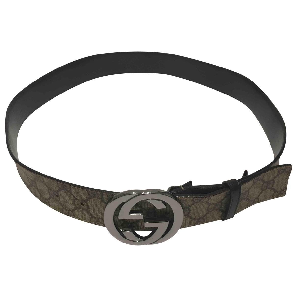 Gucci Interlocking Buckle Brown Cloth belt for Women L International