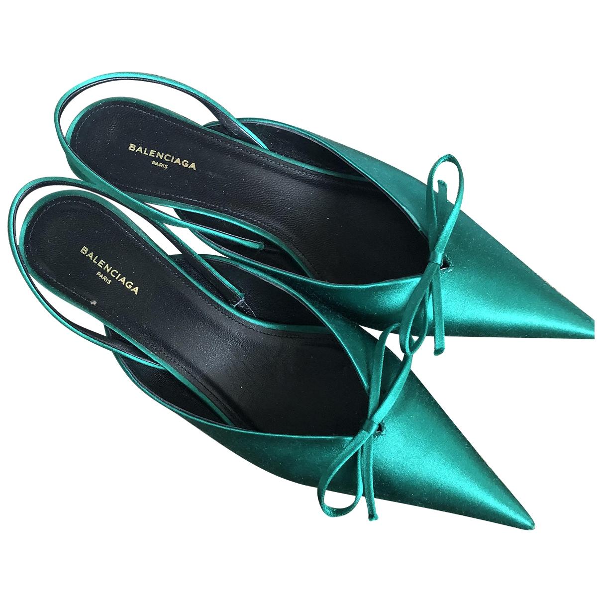 Balenciaga - Sabots   pour femme en toile - vert