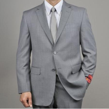 Mens Grey Birdseye Wool 2button Suit