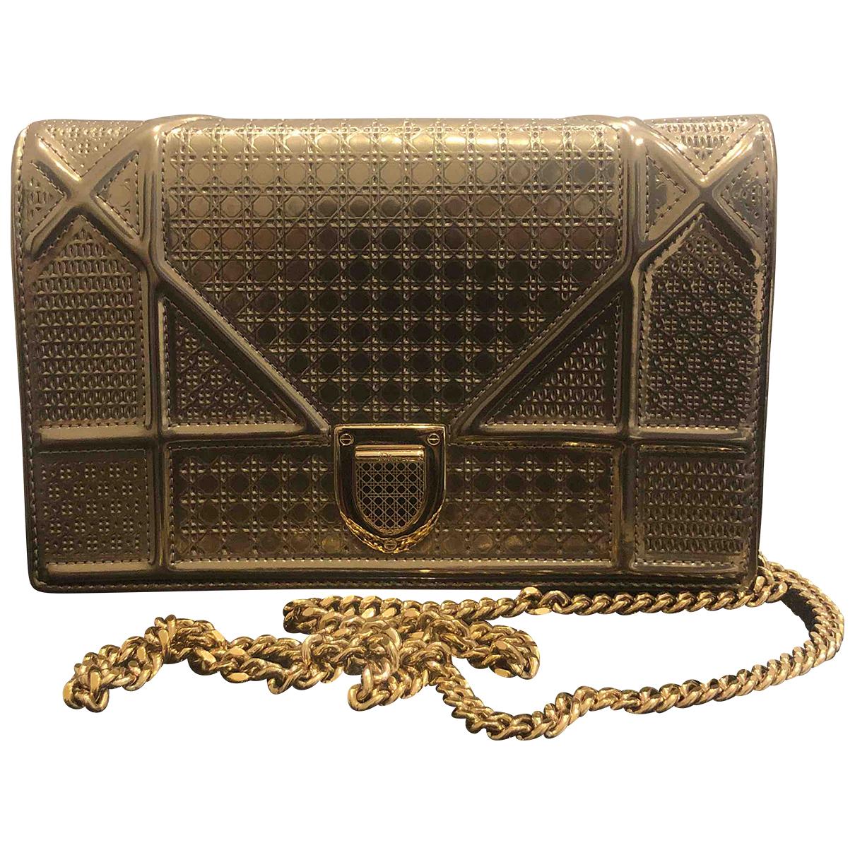 Dior - Pochette Diorama pour femme en cuir - dore