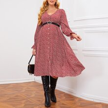 Maternity Bell Sleeve Allover Plant Dress Without Belt