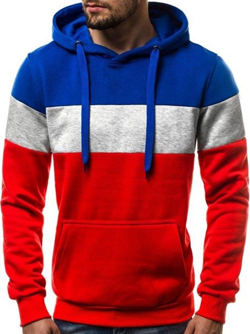 Ericdress Fleece Color Block Pullover Men's Casual Hoodies