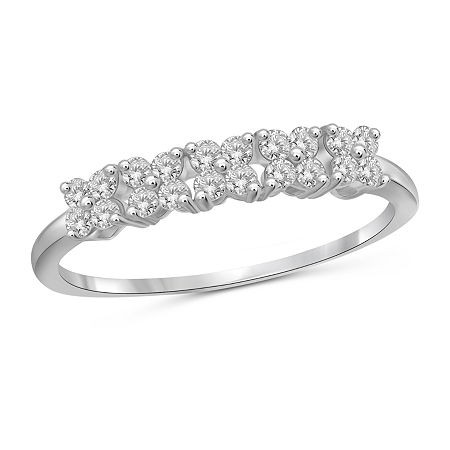 1/2 CT. T.W. White Cubic Zirconia Sterling Silver Band, 8 , No Color Family