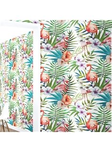 3D Tropical Plants Flamingos PVC Sturdy Waterproof and Eco-friendly Self-Adhesive Wall Mural