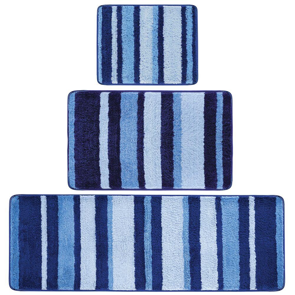 mDesign Microfiber Spa Bath Mat, Non-Slip Bathroom Rug Combo, Striped Print in Blue, 34