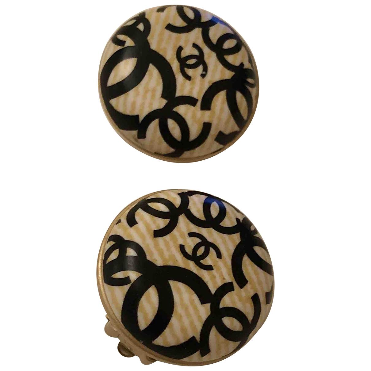 Chanel - Boucles doreilles CC pour femme en bois - noir