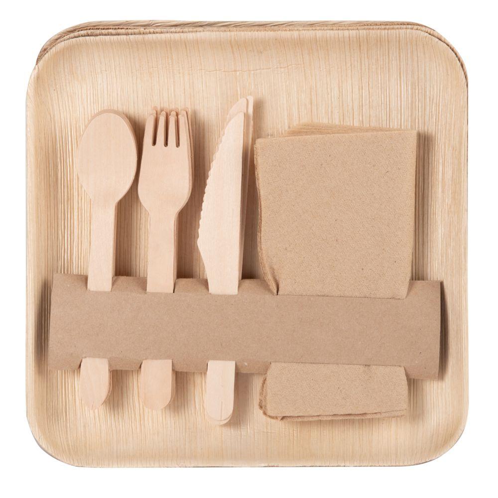 Picknickset aus Bambustellern und -besteck und Servietten (x6)