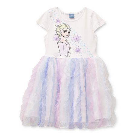 Disney Little & Big Girls Sleeveless Frozen Tutu Dress, X-small (6-6x) , White