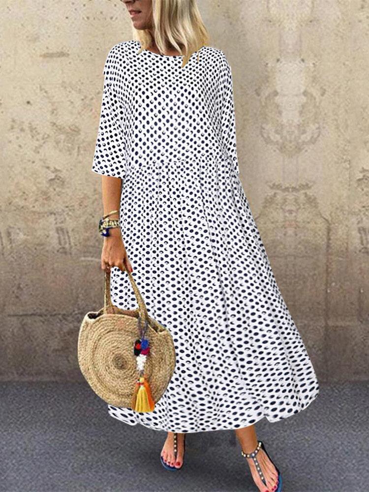 Polka Dot Print Empire Waist Plus Size A-line Dress