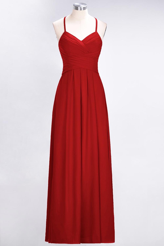 BMbridal Affordable Spaghetti Straps V-Neck Burgundy Chiffon Bridesmaid Dress with Keyhole Back