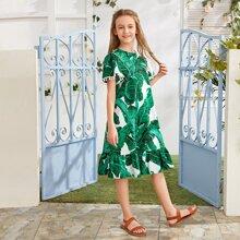 Maedchen Kleid mit Pompons Detail, Schosschensaum und tropischem Muster